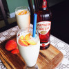Caramelised Peach Milkshakes with Southern Comfort