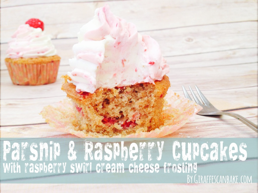Parsnip and Raspberry Cupcakes with Raspberry Swirl Cream Cheese Frosting