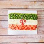 Iran Flag Vanilla Cake with Strawberries and Kiwi