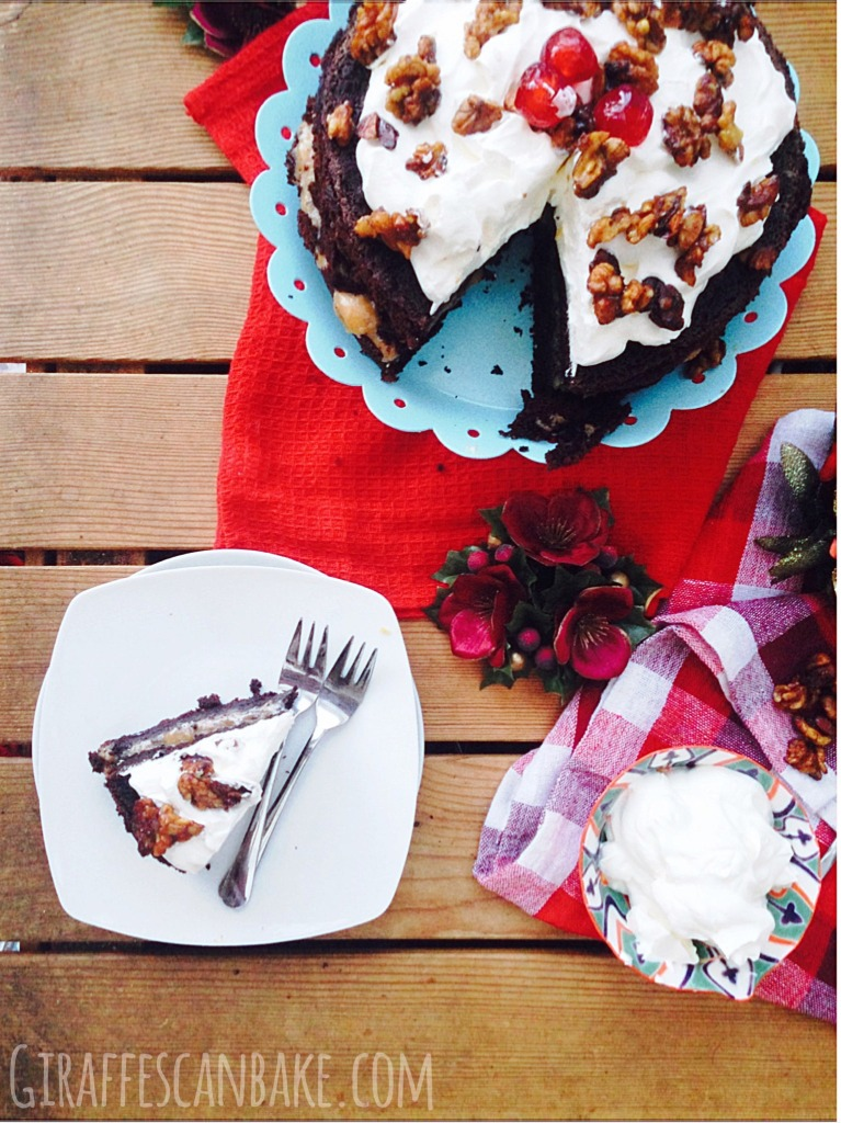 Spiced Chocolate Christmas Cake - This Christmas Spiced Chocolate Cake is full of delicious festive spices, filled with spiced caramel and topped with Kirsch Cream and Caramelised Nuts! Perfect for the holiday season.