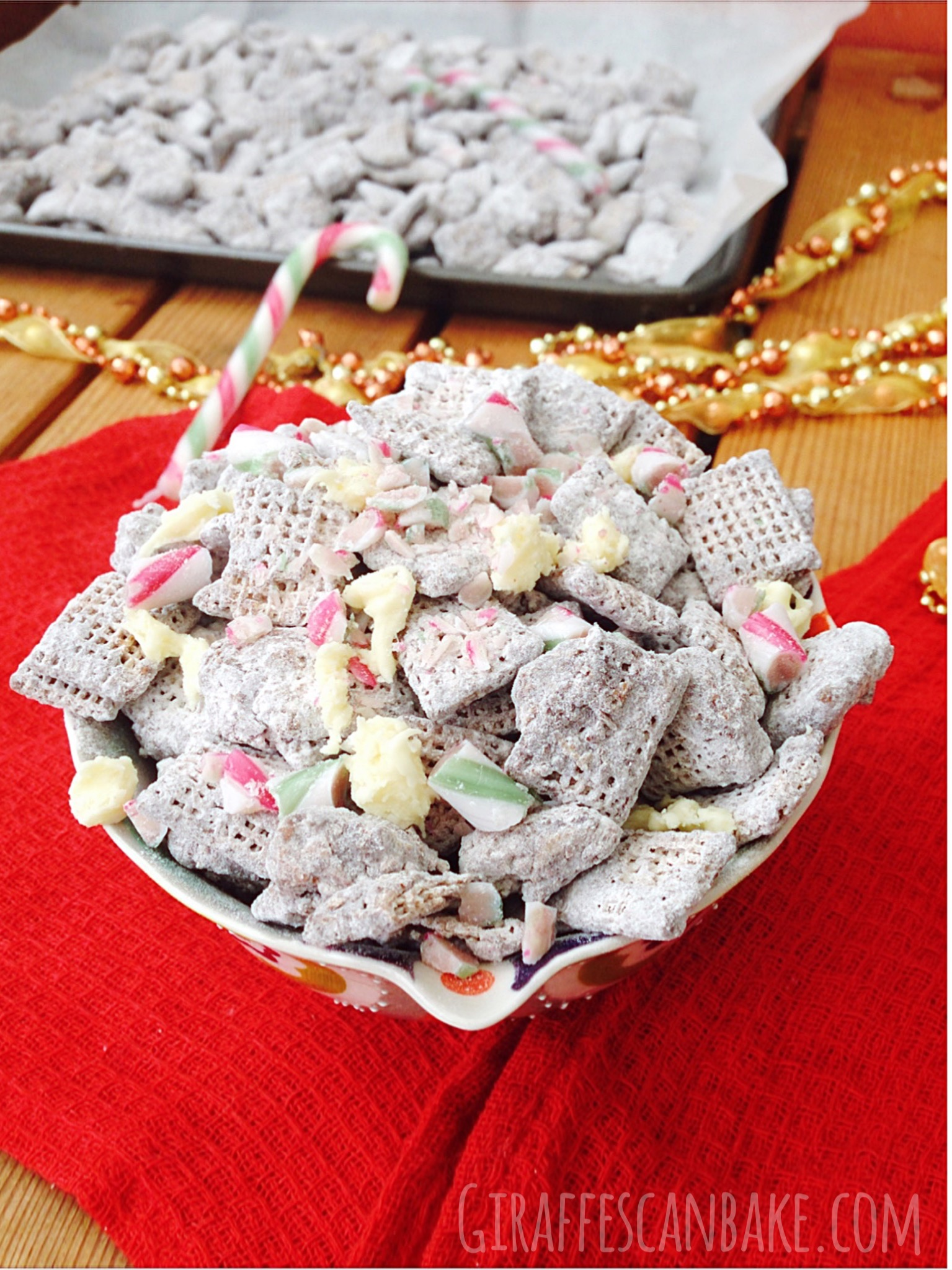 Christmas Puppy Chow.Peppermint Puppy Chow