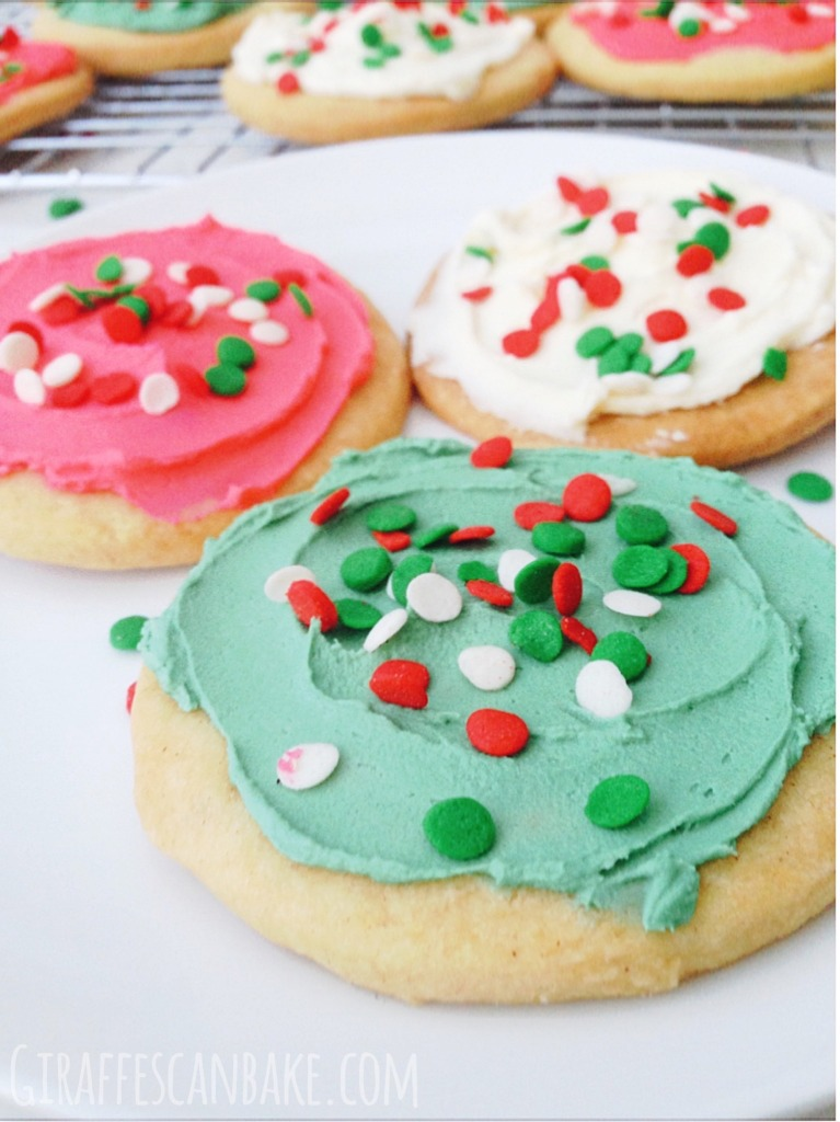 Frosted Shortbread Christmas Cookies - These Frosted Shortbread Christmas Cookies are buttery and sweet, and so easy to make. They're the perfect cookies to make with the kids and leave out for Santa!