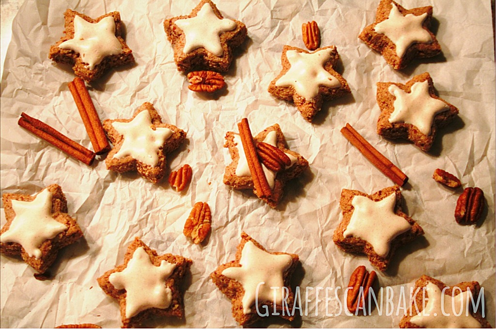 German Cinnamon Stars are a classic German Christmas cookie, these delicious meringue cookies have been given a Georgia twist and are made with toasted pecans! Chewy, delicious and totally festive!