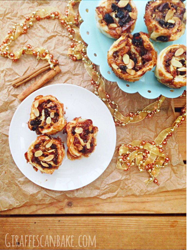 Michelle's Christmas Mince Pies - These are Christmas Mince Pies done my way! Made with puff pastry, dried fruit, nuts and a sweet, sticky sauce! So simple to make, and the perfect festive treat! It isn't Christmas without Mince Pies!