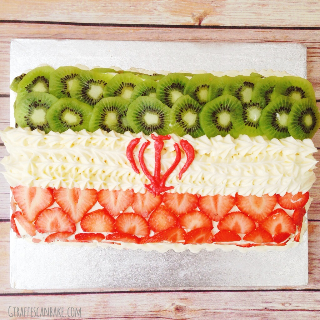 Iran Flag Vanilla Cake w/ Strawberries and Kiwi