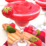 Strawberry Black Pepper Frozen Margarita - a summery frozen margarita with a black pepper kick, the perfect drink for all summer long! So easy to make too, all you need is a blender!