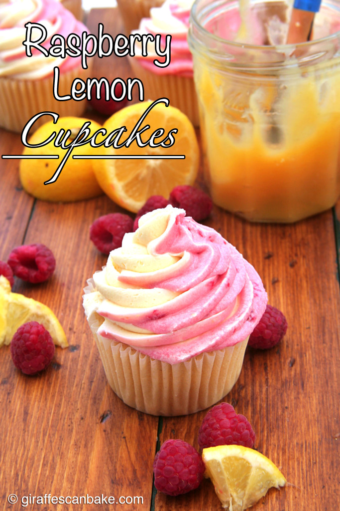 Raspberry Lemon Cupcakes by Giraffes Can Bake - Moist and tart lemon cupcakes filled with smooth lemon curd and topped with Lemon Raspberry Swirl Buttercream Frosting