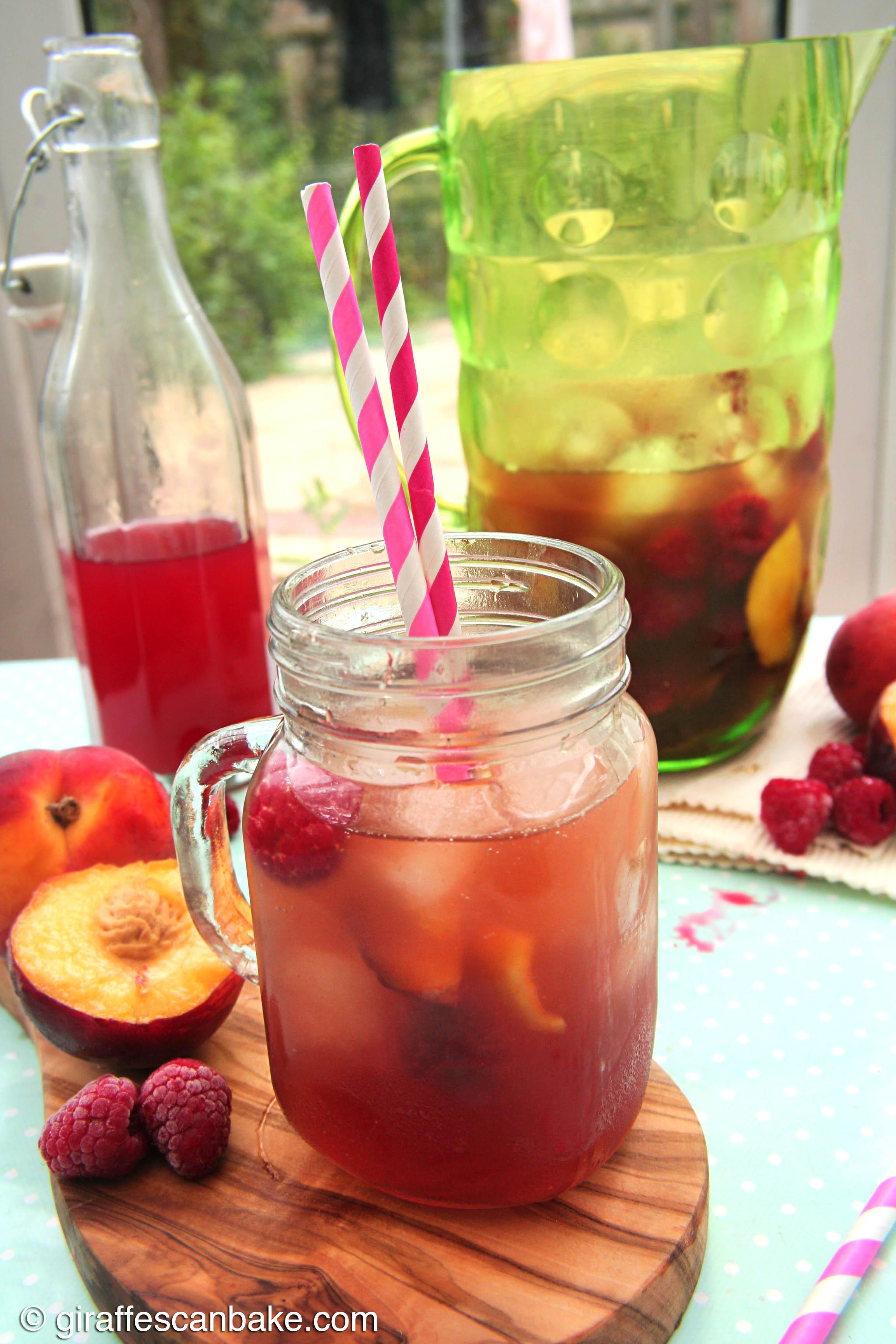 peach and raspberry iced tea giraffes can bake