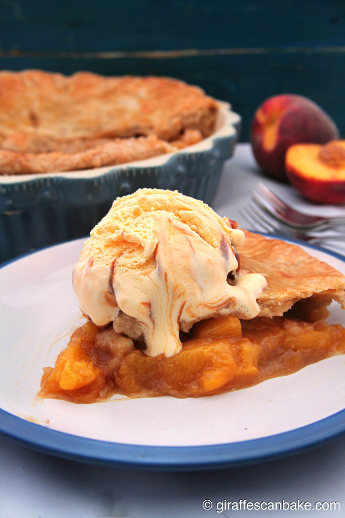 Homemade Peach Pie by Giraffes Can Bake - A delicious pie filled with fresh, juicy peaches and ingredients you probably already have in your kitchen! Plus an easy, homemade buttery double crust. The perfect way to use your summer peaches!