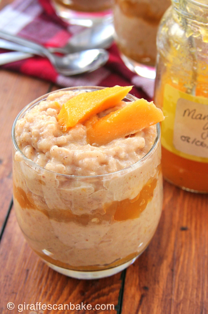 Spicy Mango Rice Pudding by Giraffes Can Bake - A flavourful baked rice pudding with layers of spicy mango jam, with hints of cinnamon and ginger. Made with coconut milk, making it vegan friendly. So easy to make, it's a great week night dessert!