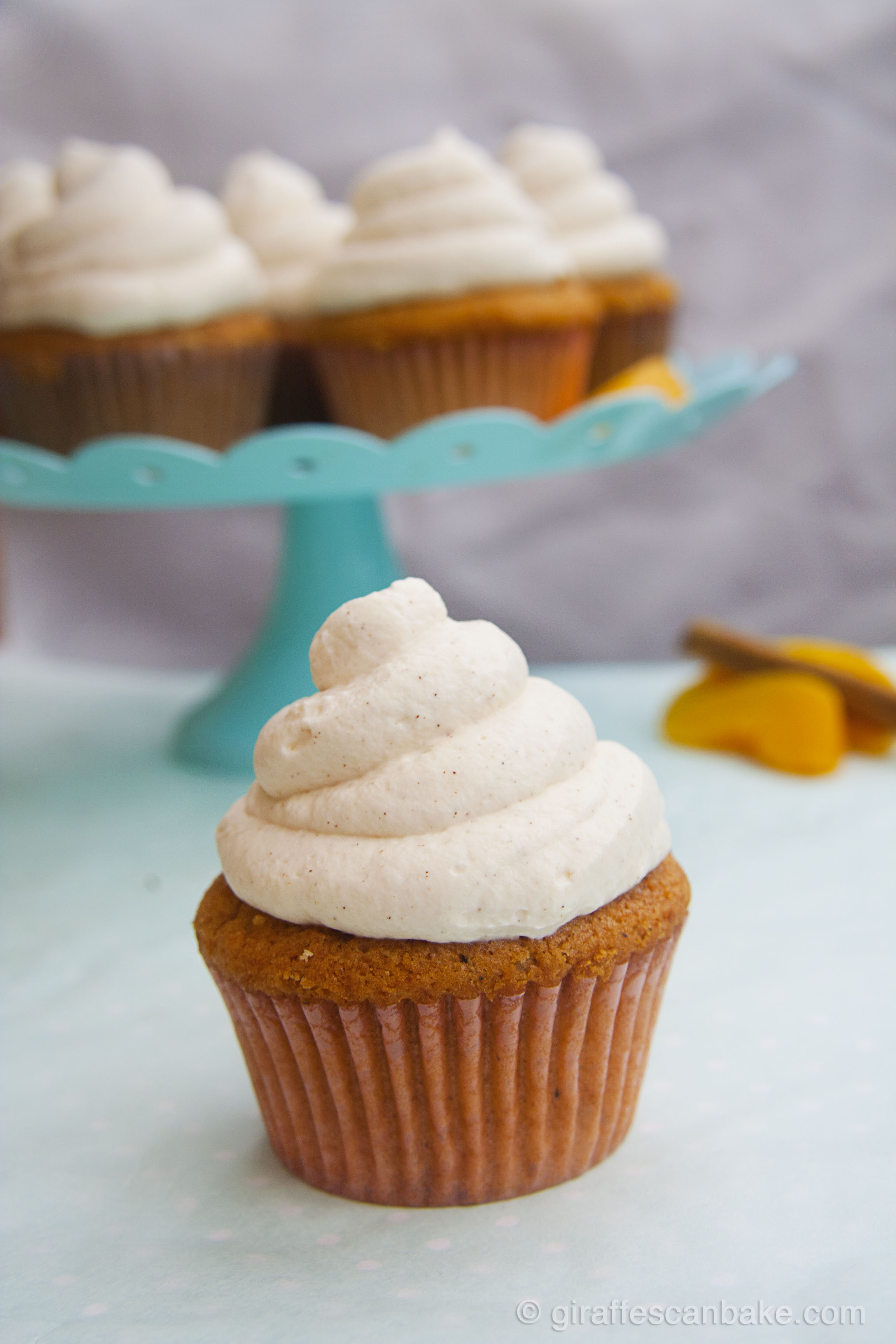 Peach Cupcakes with Cinnamon Frosting by Giraffes Can Bake - Moist ...