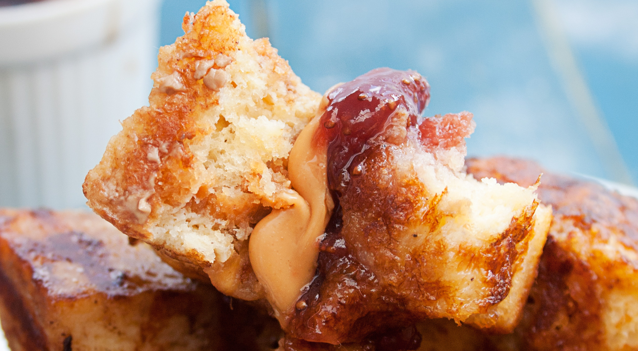 Peanut Butter & Jelly Stuffed French Toast Bites with Balsamic Dipping Sauce