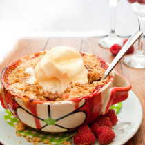 Apple, Raspberry and Ginger Crumble for two - a sweet and tart fruit filling with a warming kick of ginger, topped with a buttery, crunchy crumble topping. The perfect size for two to share this Valentine's Day!