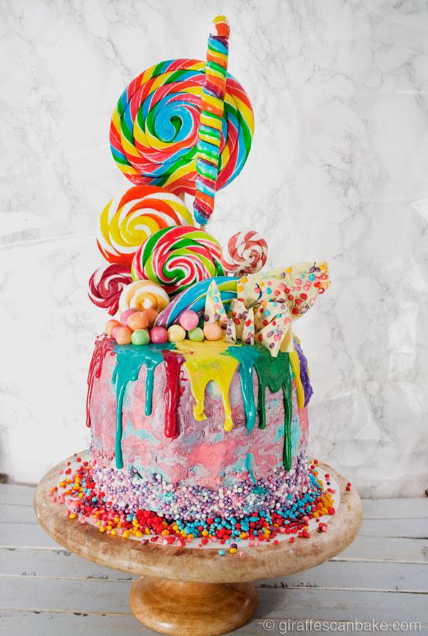 Surprising Rainbow Lollipop Birthday Cake A Tipsy Giraffe Funny Birthday Cards Online Elaedamsfinfo