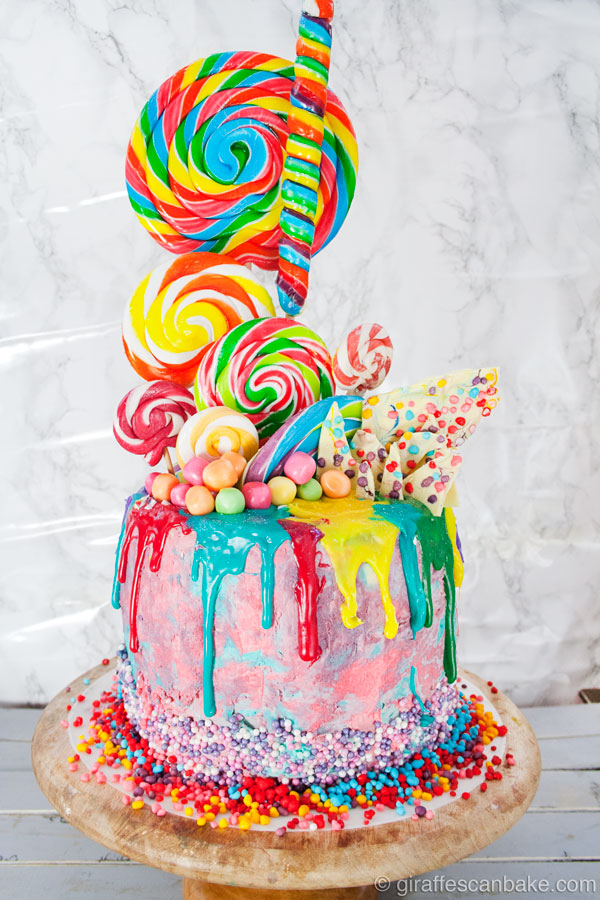 Rainbow Lollipop Birthday Cake Dark Chocolate Mud Cake