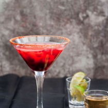 Marvel's Elektra Cocktail - a delicious and intense cocktail inspired by Elektra. It is a blood orange, blackcurrant and aniseed margarita, made with mezcal instead of tequila. It will kick your ass, just like Elektra!