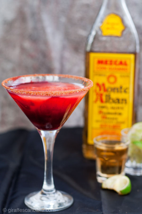 Marvel's Elektra Cocktail - a delicious and intense cocktail inspired by Elektra. It is a blood orange, blackcurrant and aniseed mezcal margarita, made with mezcal instead of tequila. It will kick your ass, just like Elektra!