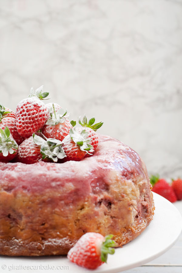 Strawberry Upside Down Cake With Frozen Strawberries