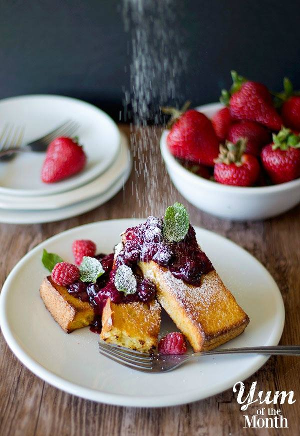 Baked French Toast with Berry Compote from Unicorns in the Kitchen