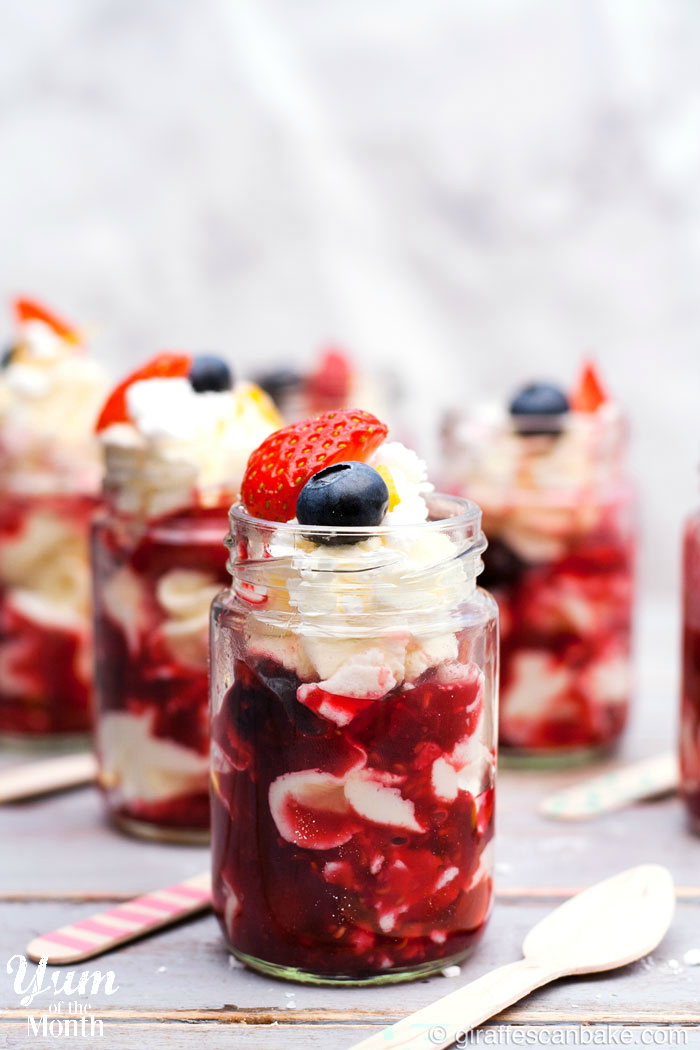 Berry Eton Mess Dessert Shots - The easiest, most delicious and cutest dessert you'll ever make! Layers of meringue, fresh whipped cream and berry compote make up these delicious Berry Eton Mess Dessert Shots - the perfect, easy summer dessert for Fourth of July!