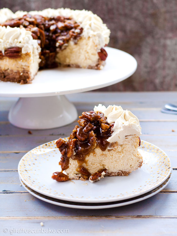Gluten Free Pecan Pie Cheesecake - This Gluten Free Pecan Pie Cheesecake is the perfect way to shake up Thanksgiving dessert! It's has a gluten free pecan and walnut crust with creamy baked vanilla cheesecake, a bourbon pecan pie topping and bourbon brown sugar whipped cream. So delicious, so easy and make ahead!