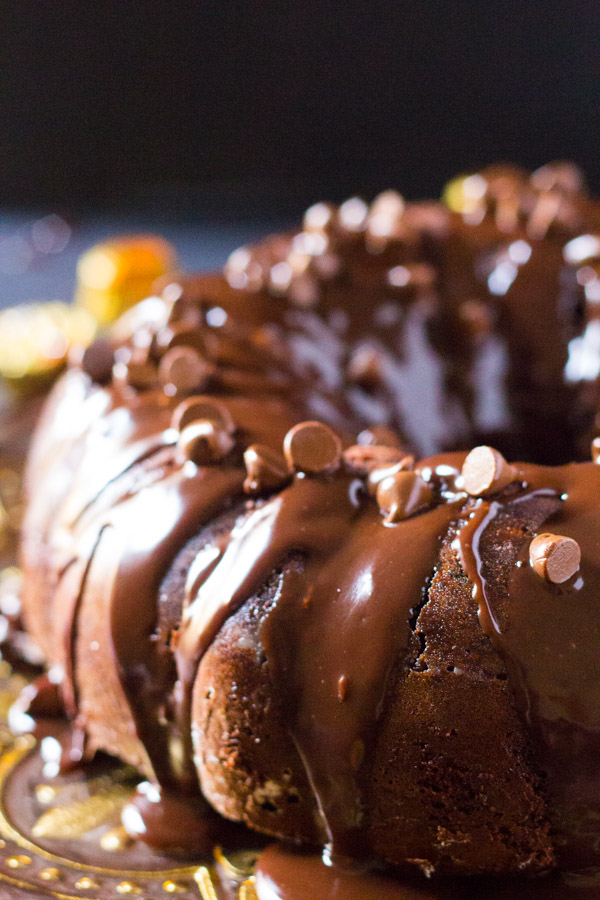 Reese's Triple Chocolate Bundt Cake from I Knead To Eat