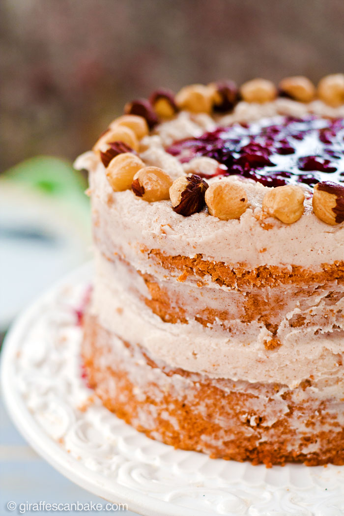 "Plum and Hazelnut Cake - A deliciously tempting mini 6"" cake that is naturally gluten and dairy free! Moist hazelnut cake with plum filling and dairy free cinnamon frosting. It's delicious and easy to make, with no oil needed!"
