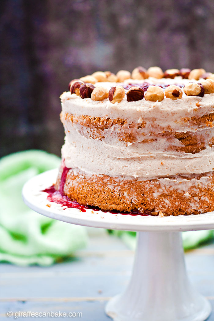 "Plum and Hazelnut Cake -A deliciously tempting mini 6"" cake that is naturally gluten and dairy free! Moist hazelnut cake with plum filling and dairy free cinnamon frosting. It's delicious and easy to make, with no oil needed!"