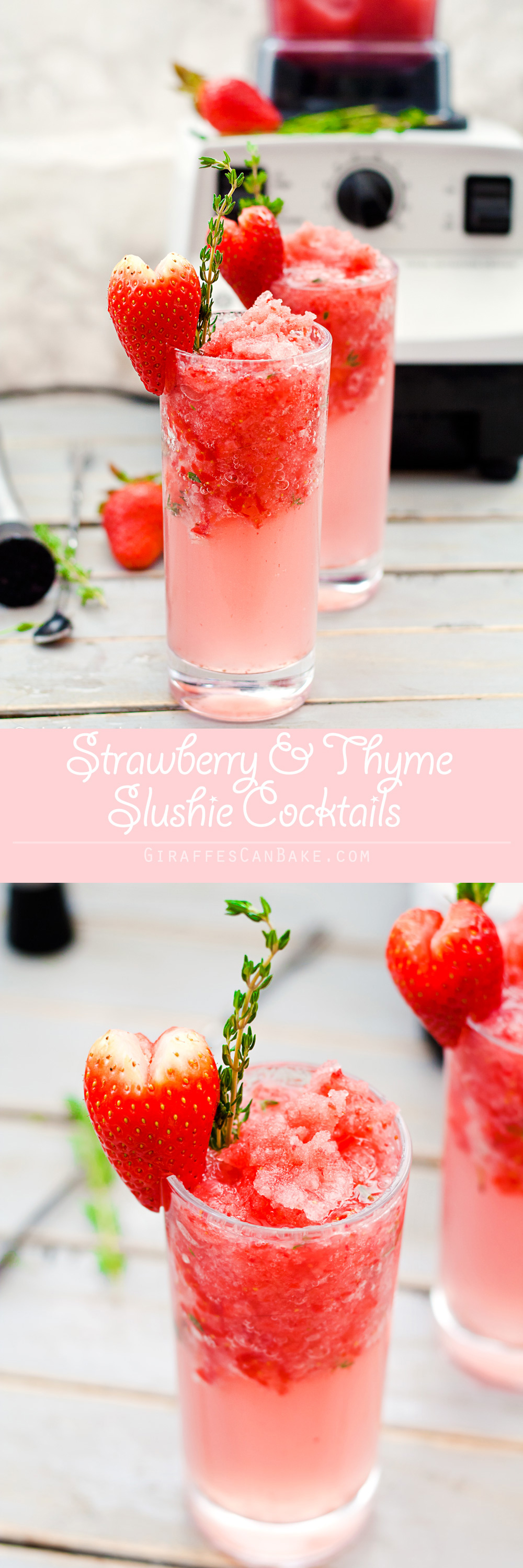 Strawberry & Thyme Slushie Cocktails for Valentine's Day - These Strawberry and Thyme Slushie Cocktails are not only gorgeous, they're totally delicious too. Sweet strawberries are muddled with aromatic thyme and white rum, add some crushed strawberry ice and soda water and you have the perfect Valentine's Day cocktail to share with your sweetheart.