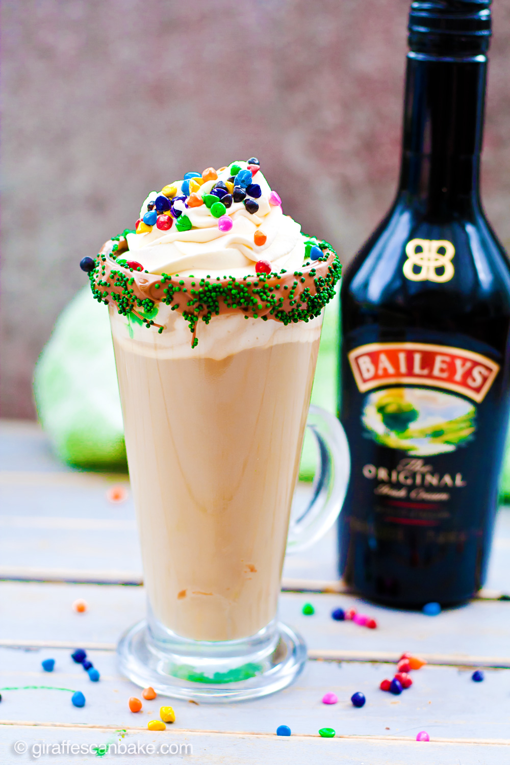 Mint Irish Latte - Put a little luck of the Irish in your morning coffee with this Mint Irish Latte. Crème de Menthe is combined with Baileys Irish Cream in a chocolate and sprinkles rimmed glass, rich espresso and frothy milk is then poured over the top. Add some vanilla whipped cream and rainbow sprinkles to finish it off with a touch of magic! The best way to drink coffee this St Patrick's Day!