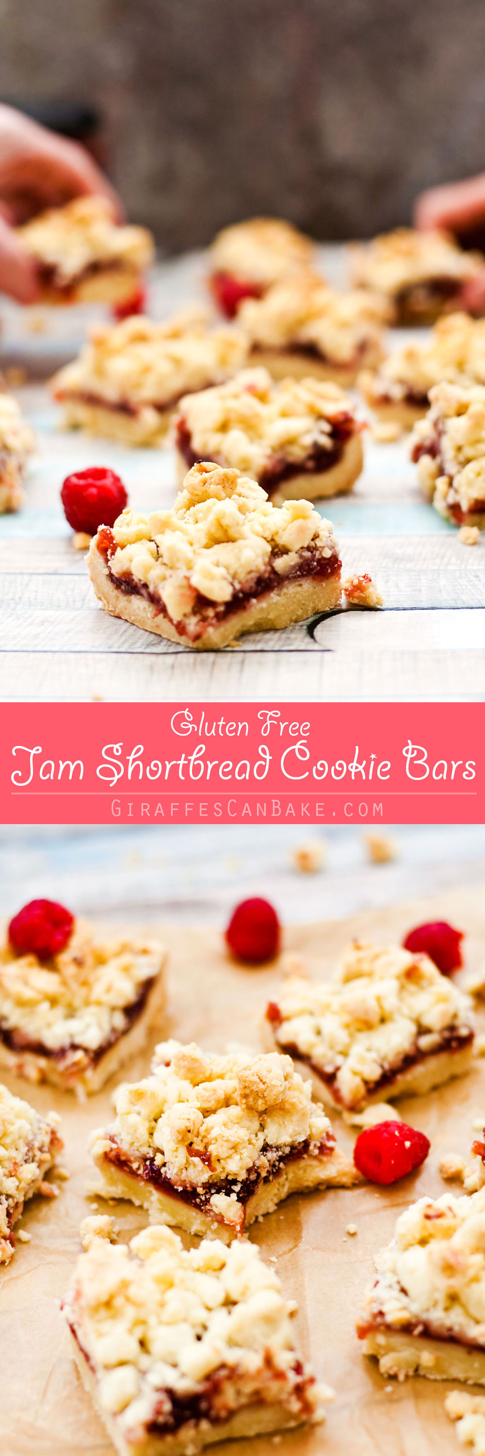 Jam Shortbread Cookie Bars - Buttery, melt in your mouth shortbread, smothered in sweet, fruity jam and topped with even more buttery goodness in the form of shortbread streusel. These Jam Shortbread Cookie Bars are the most delicious cookie bar you will ever eat. They are gluten free, ridiculously quick and easy to make, and so yummy you won't believe it!