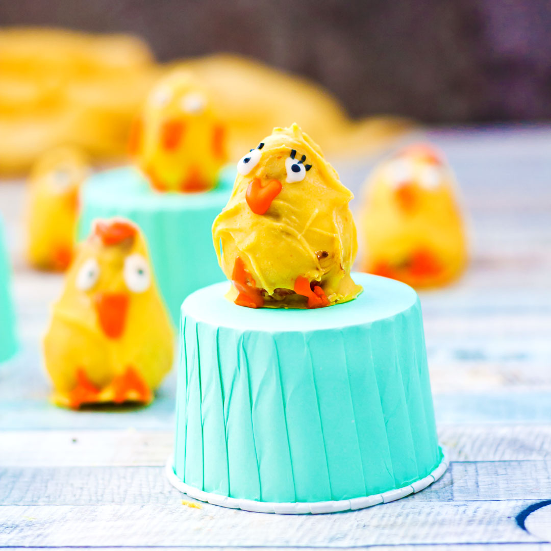 Nutella Stuffed Chocolate Covered Strawberry Easter Chicks |