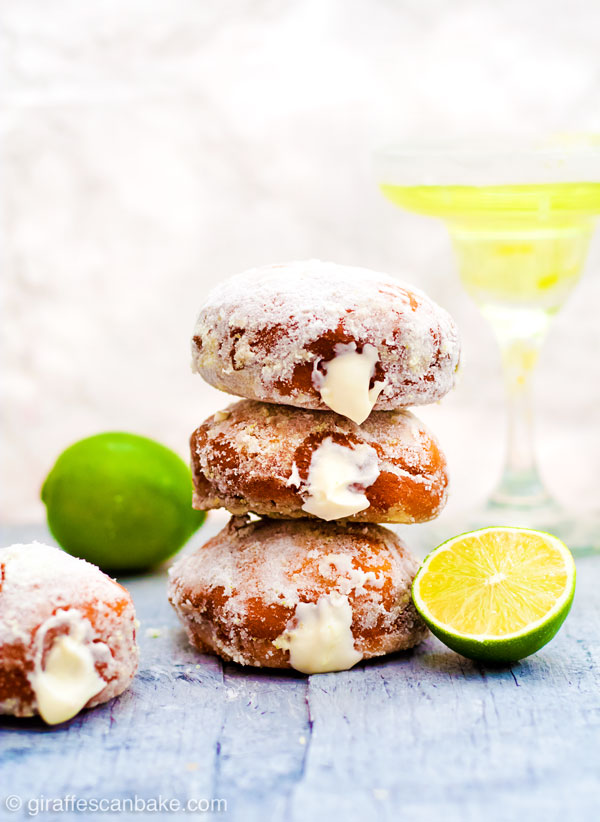 Gluten Free Yeast-Raised Margarita Cheesecake Donuts - fluffy, delicious and so easy! This amazing recipe also includes all my tips on how to make perfect gluten free yeast-raised donuts every time. Plus a FREE cheat sheet printable! - three donuts stacked on top of each other