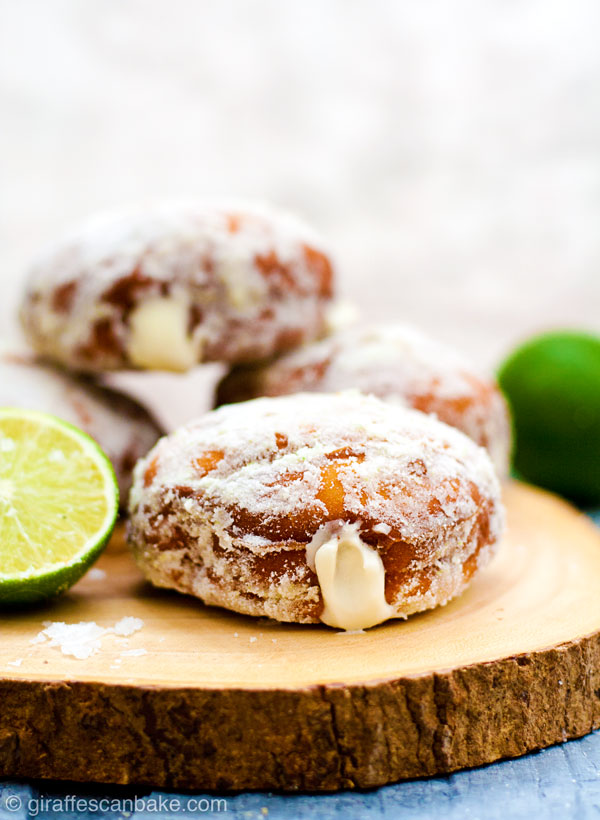 Gluten Free Yeast-Raised Margarita Cheesecake Donuts - fluffy, delicious and so easy! This amazing recipe also includes all my tips on how to make perfect gluten free yeast-raised donuts every time. Plus a FREE cheat sheet printable! - close up of a donut