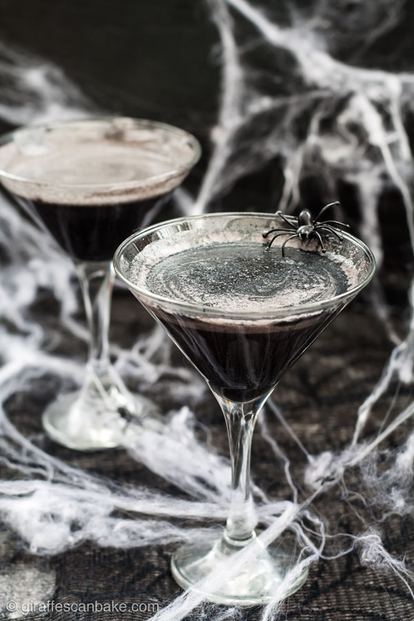 The Black Widow Cocktail is a dark, shimmery, and deceptively sweet cocktail. It is the perfect spooky sipper for Halloween and the next instalment of my Marvel Cocktail Series. It's made with gin, crème de mûre, and black sesame syrup. It's sweet, a little nutty, and visually awesome.