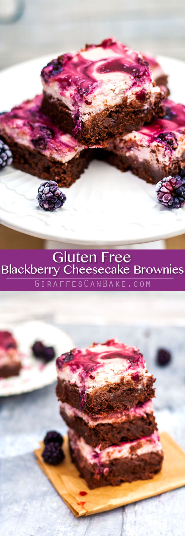 These #GlutenFree Blackberry Cheesecake Brownies are chocolatey, creamy, and fruity! Fudgy brownies are topped with a thick and creamy blackberry cheesecake. So quick and easy to make, and a real crowd pleaser. Gluten free decadence! #brownies #blackberry #cheesecake #chocolate