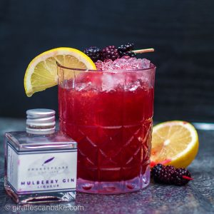 The Mulberry Bramble Cocktail - a photo of the finished cocktail at a front on angle, with a small bottle of mulberry gin next to it. Image is square cropped