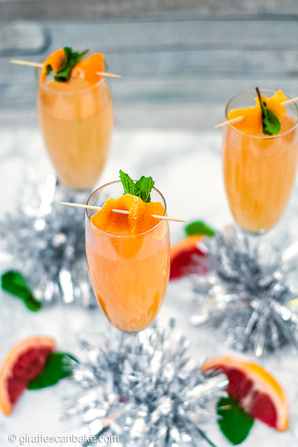 Brandy Grapefruit Mimosa - three mimosas, above angle shot