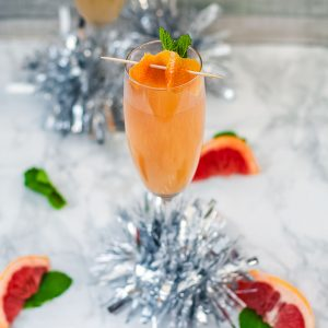 Brandy Grapefruit Mimosa -one mimosa, square cropped