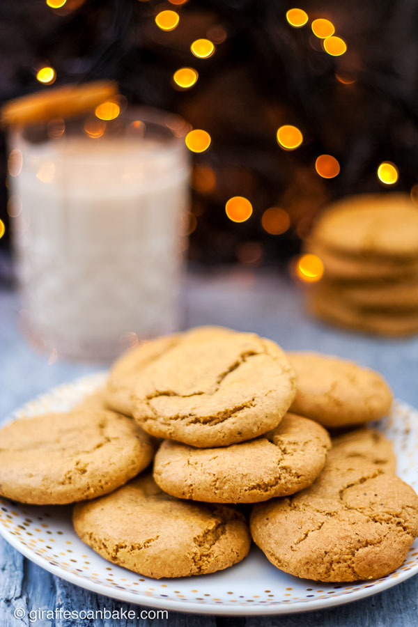 Gluten Free Eggnog Cookies are thick and chewy, they're the ultimate Christmas Cookie. They're made with nutmeg and a healthy dose of bourbon so they're full of holiday cheer - a plate of eggnog cookies