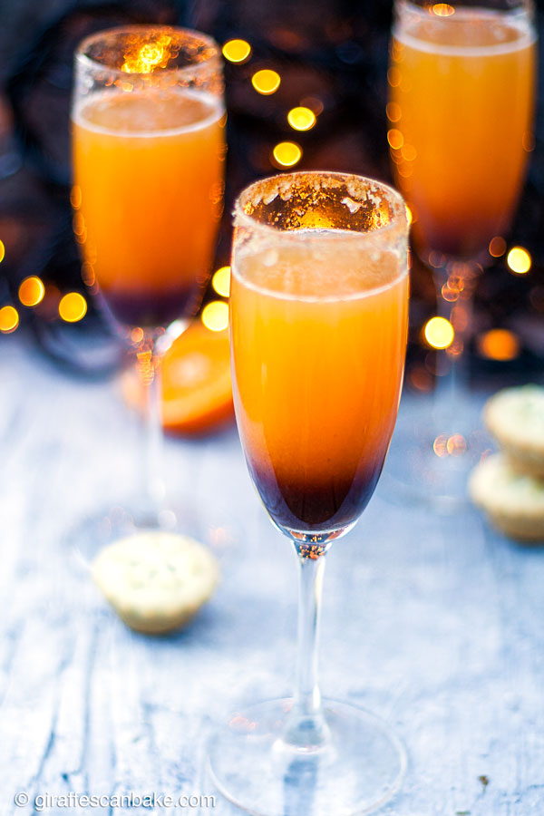 Mince Pie Christmas Mimosas - three mimosas, a top angle