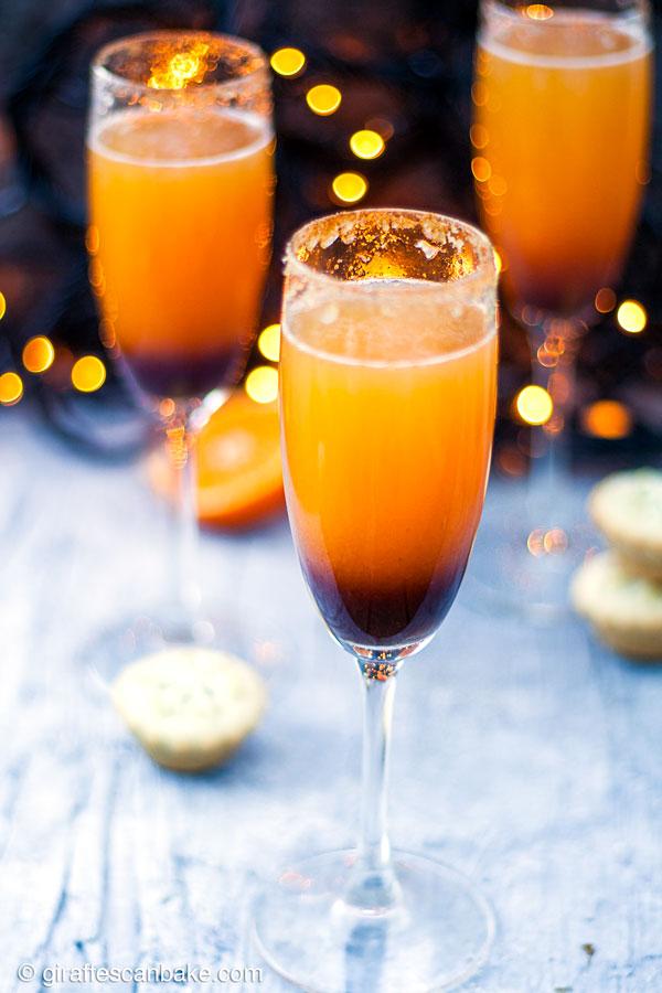 Mince Pie Christmas Mimosas - three mimosas, a top angle