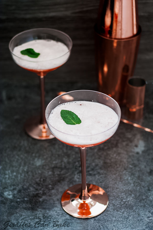 The Cupid's Cup - a Pisco Sour Variation - two cocktails with mint leaf on top, top angle view