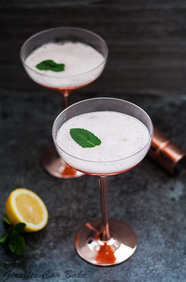 The Cupid's Cup - a Pisco Sour Variation - two coupe cocktail glasses with orange coloured cocktail with white foam top