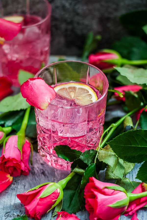 Rose Vodka Tonic Mixed Drink Cocktail - pink cocktail in rocks glass surrounded by pink roses